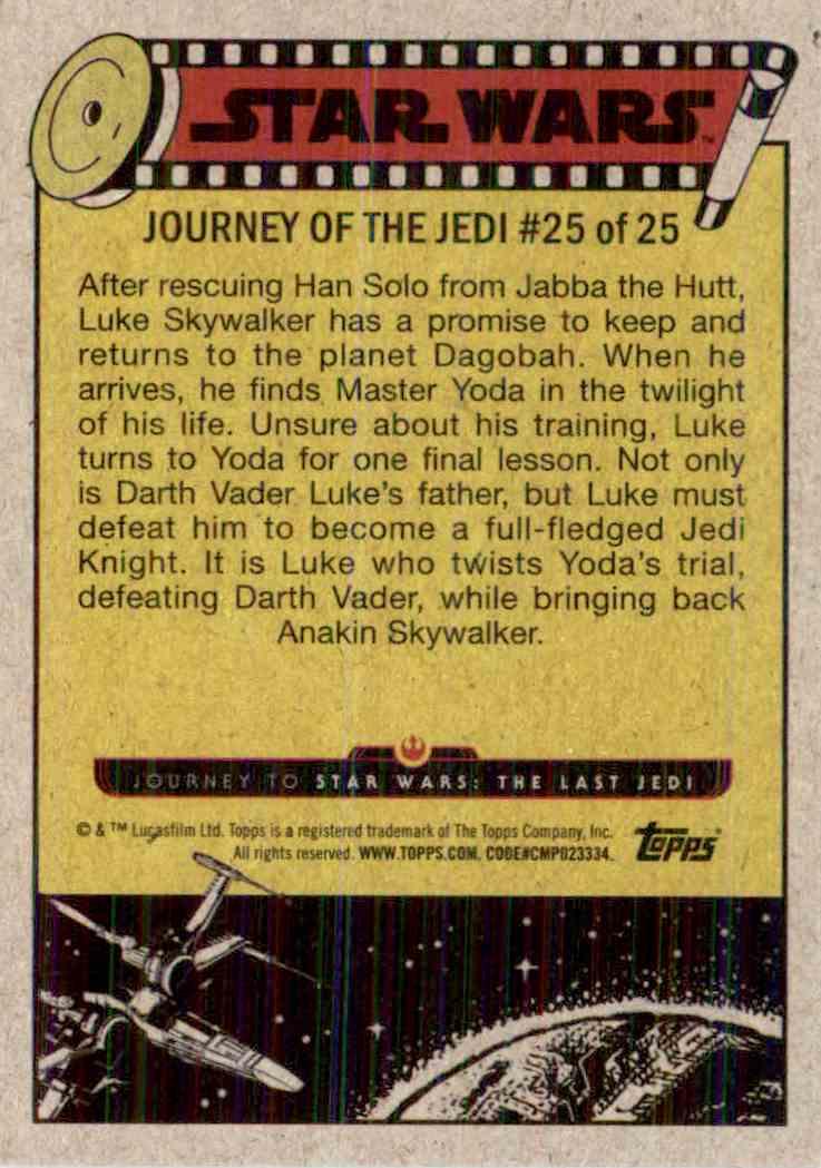 2017 Topps Star Wars Luke Skywalker's Final Lesson #25 card back image
