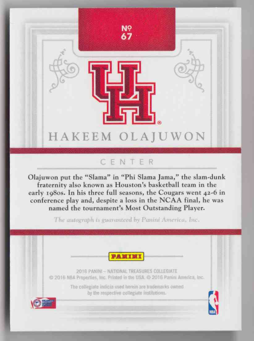 2016-17 Panini National Treasures Collegiate Hakeem Olajuwon #67 card back image