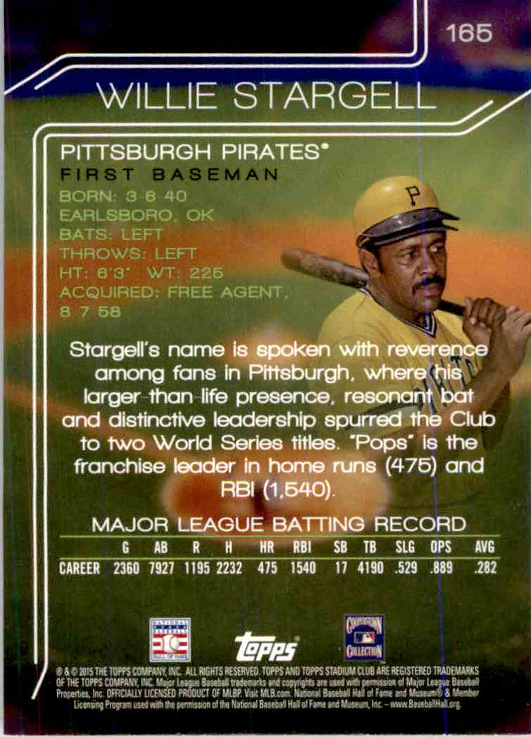2015 Topps Stadium Club Black Foil Willie Stargell #165 card back image