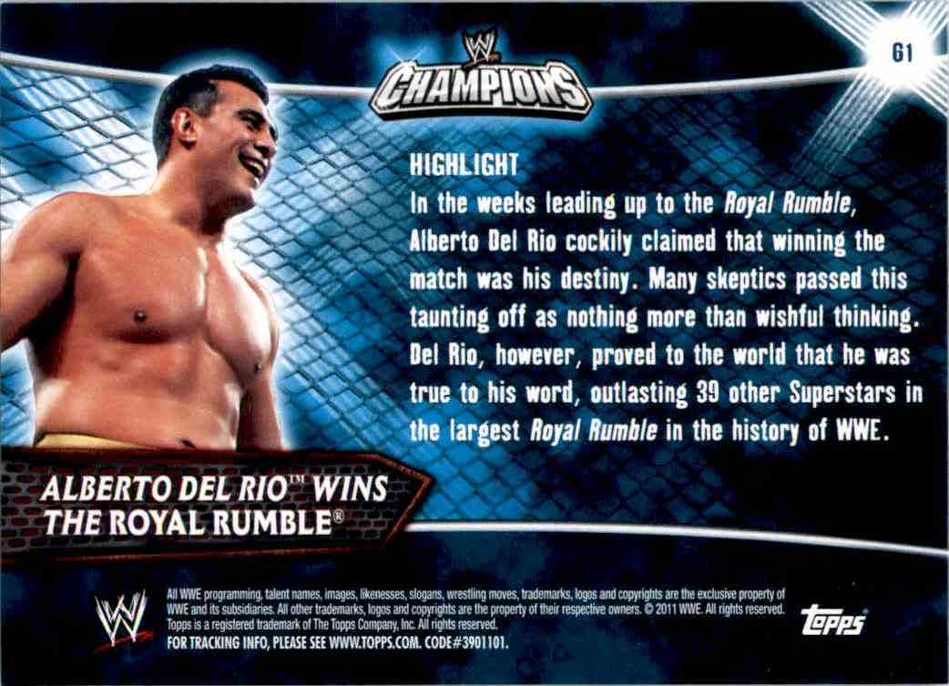 2011 Topps Wwe Champions Alberto Del Rio Wins The Royal Rumble #61 card back image