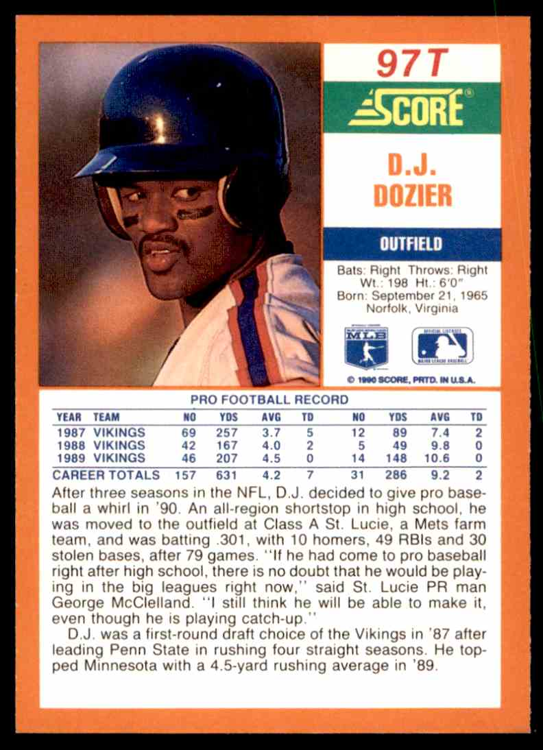 1990 Score Rookie/Traded D.J. Dozier #97T card back image