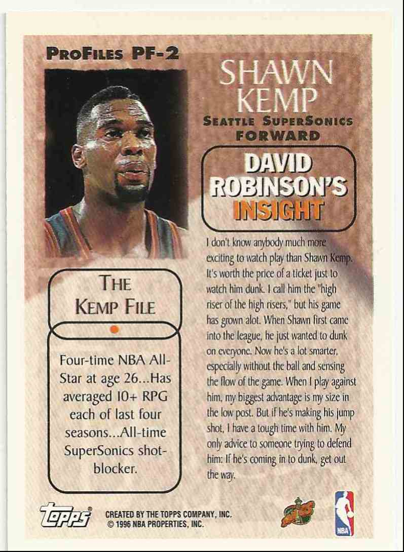 1996-97 Topps Pro Files Shawn Kemp #PF-2 card back image