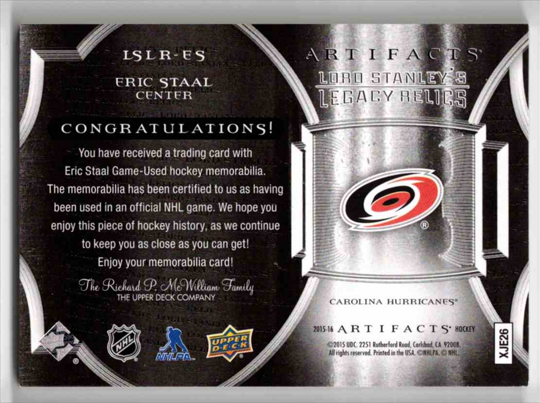 2015-16 Upper Deck Artifacts Lord Stanley's Legacy Relics Gold Eric Staal #LSLR-ES card back image
