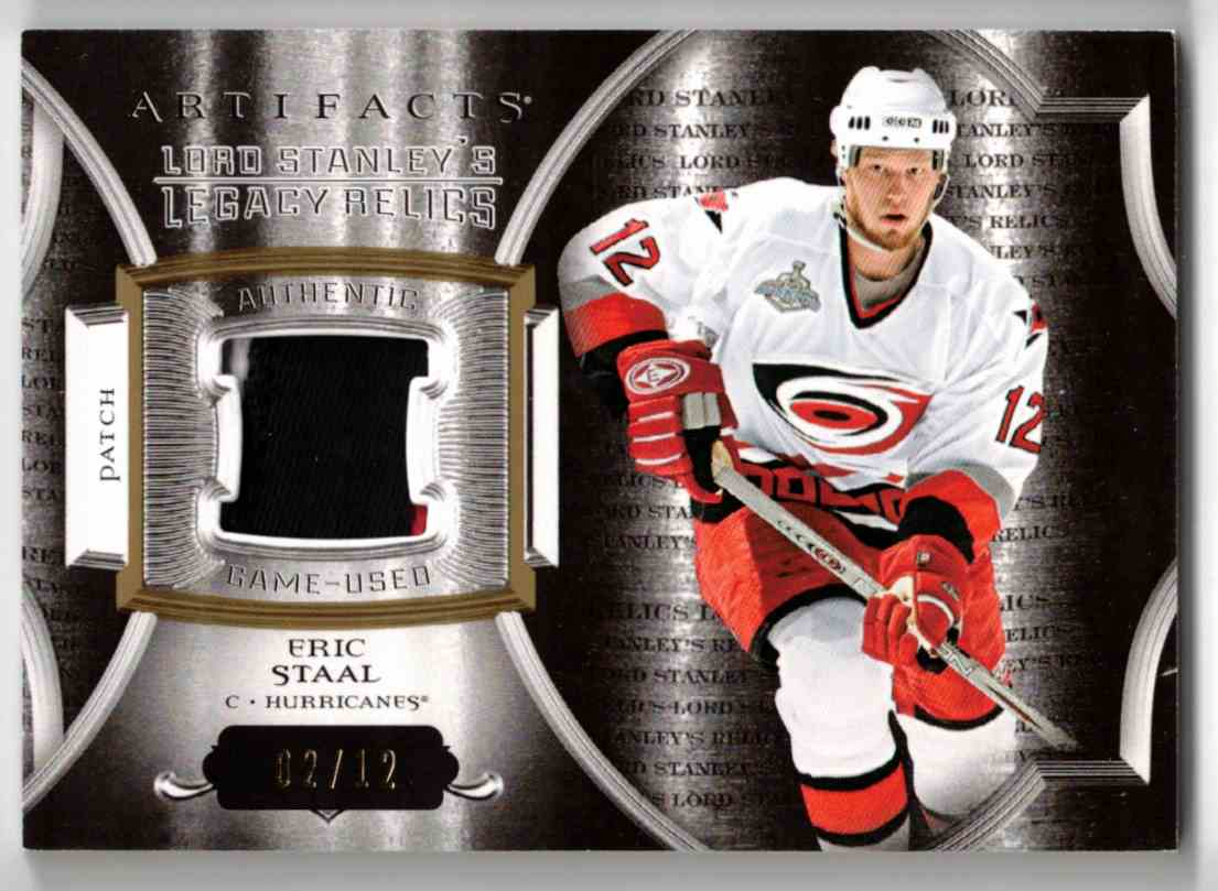 2015-16 Upper Deck Artifacts Lord Stanley's Legacy Relics Gold Eric Staal #LSLR-ES card front image