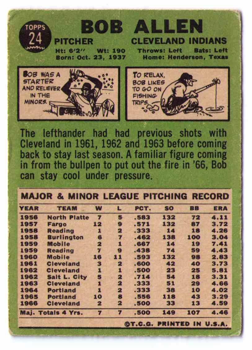 1967 Topps Baseball Card Bob Allen #24 card back image