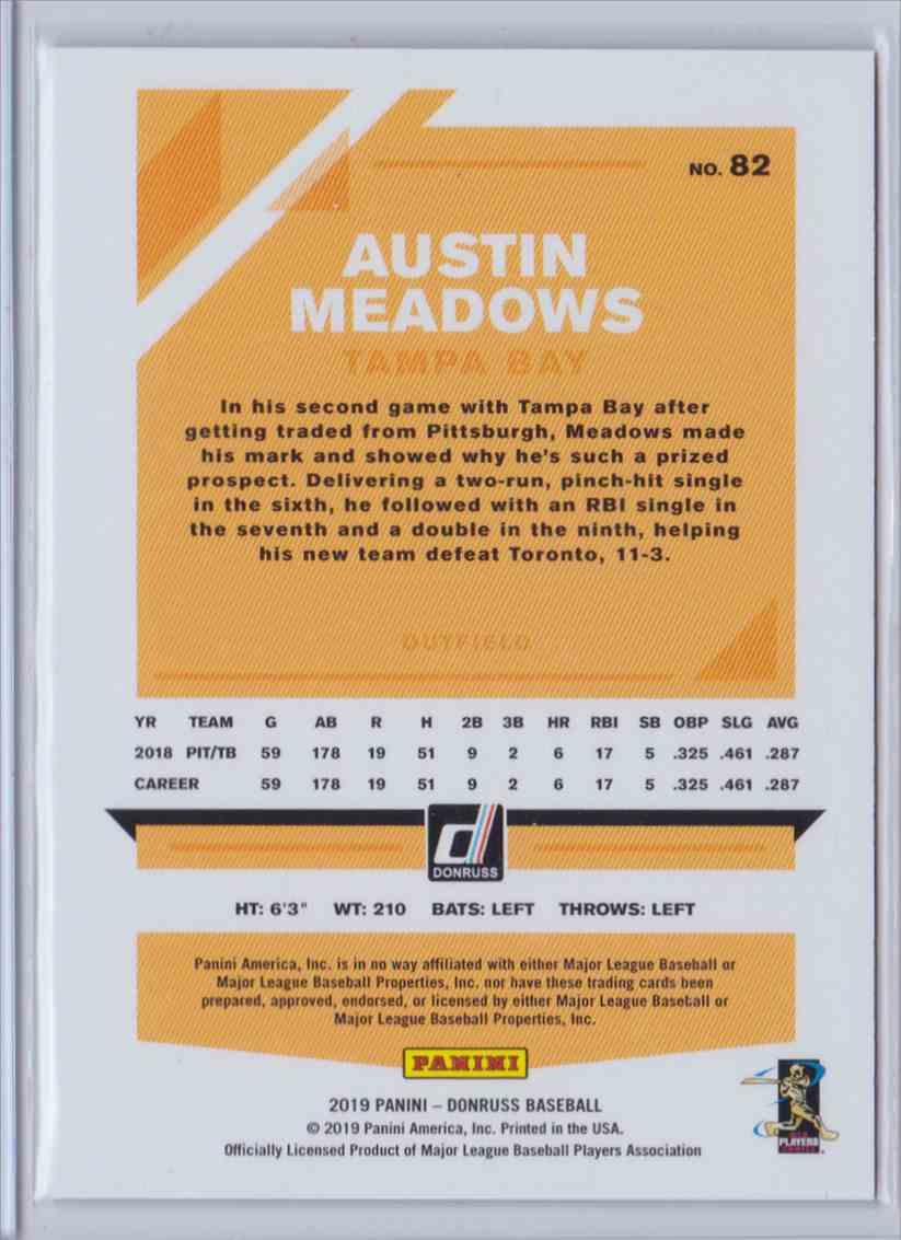 2019 Donruss Stat Line Austin Meadows #82 card back image