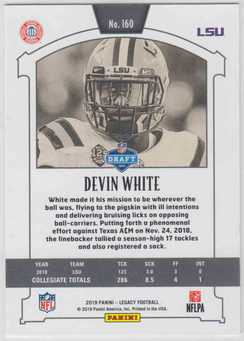 2019 Panini Legacy Rookie Yellow Devin White #160 card back image