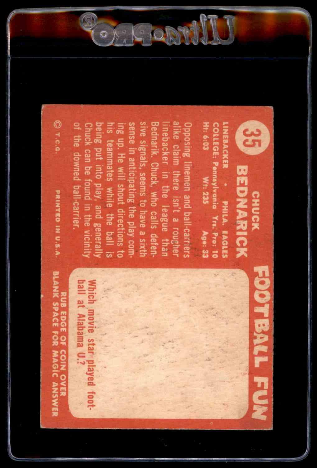 1958 Topps #35 Chuck Bednarik Philadelphia Eagles Football Card Verzamelkaarten, ruilkaarten