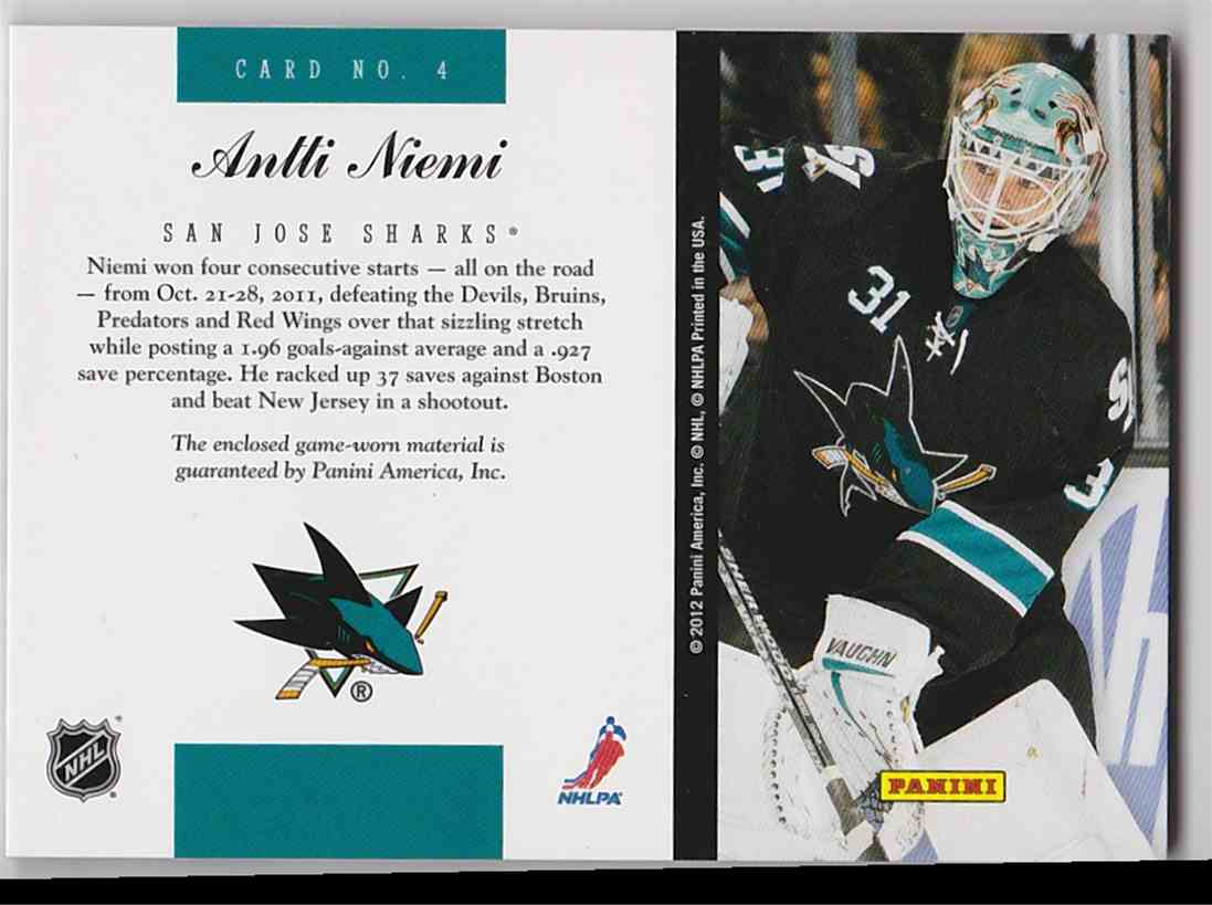 2011-12 Elite Materials Antti Niemi #4 card back image