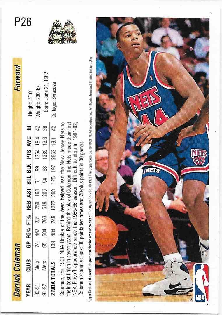 1993-94 Upper Deck McDonald Derrick Coleman #P26 card back image