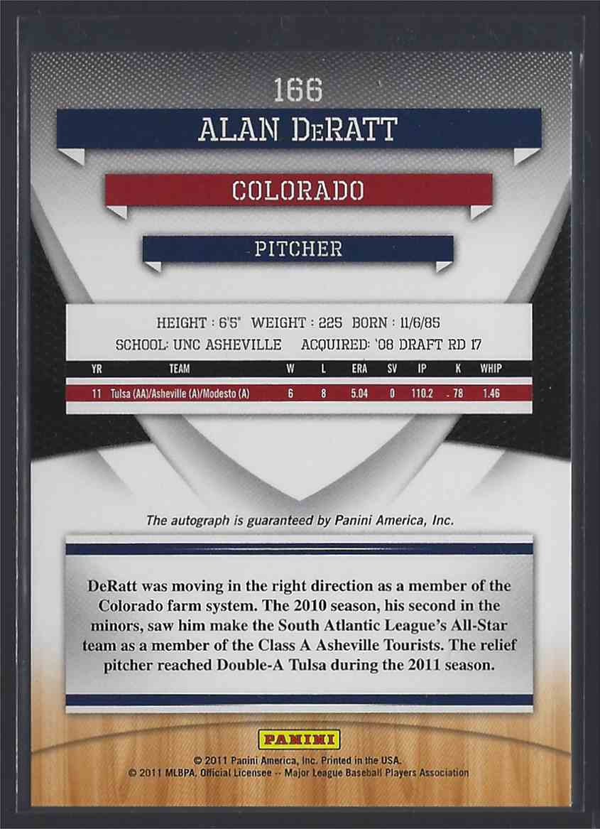 2011 Donruss Elite Extra Edition Franchise Futures Signatures Alan DeRatt #166 card back image