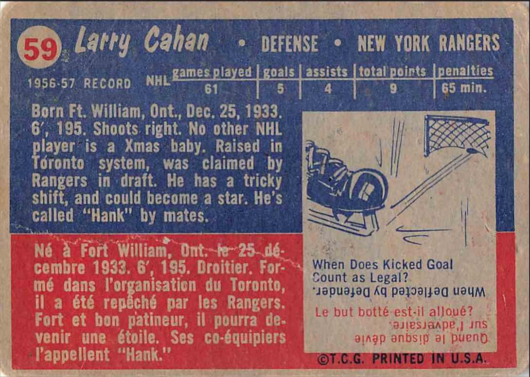 1957-58 Topps Larry Cahan #59 card back image