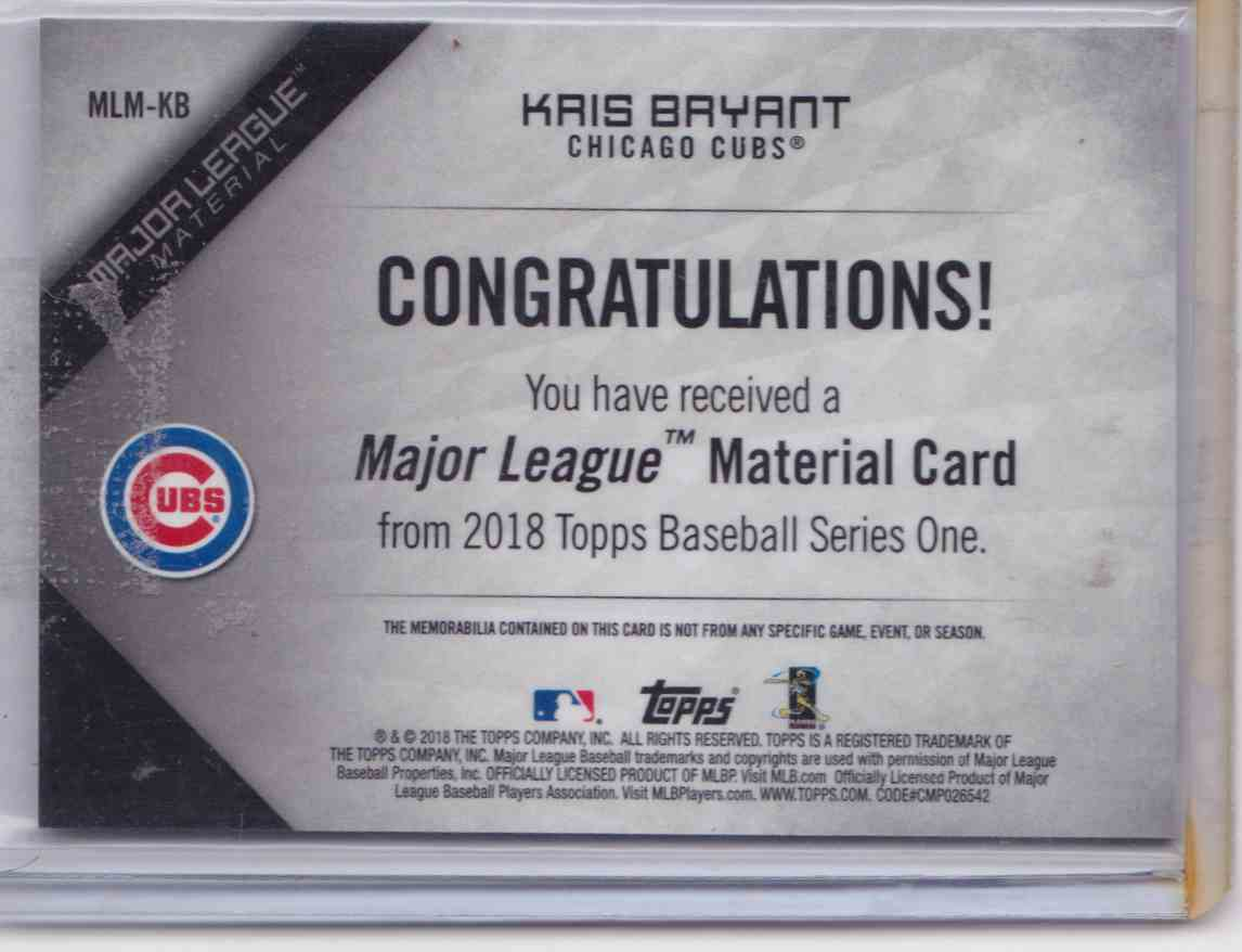 2018 Topps Series One Major League Material Kris Bryant #MLM-KB card back image