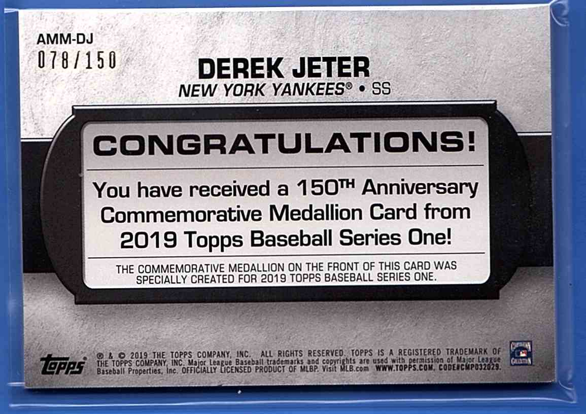 2019 Topps 150th Anniversary Manufactured Medallions 150th Anniversary Derek Jeter #AMM-DJ card back image