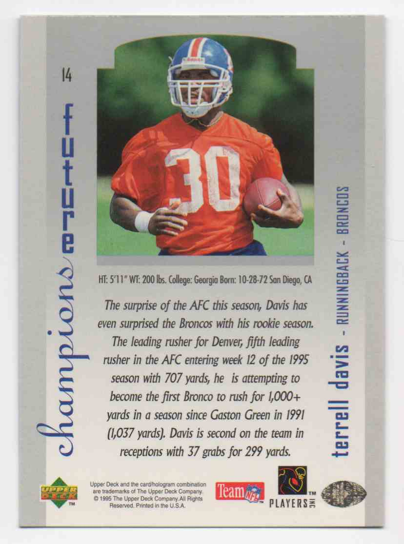 1995 SP Championship Series Terrell Davis #14 card back image