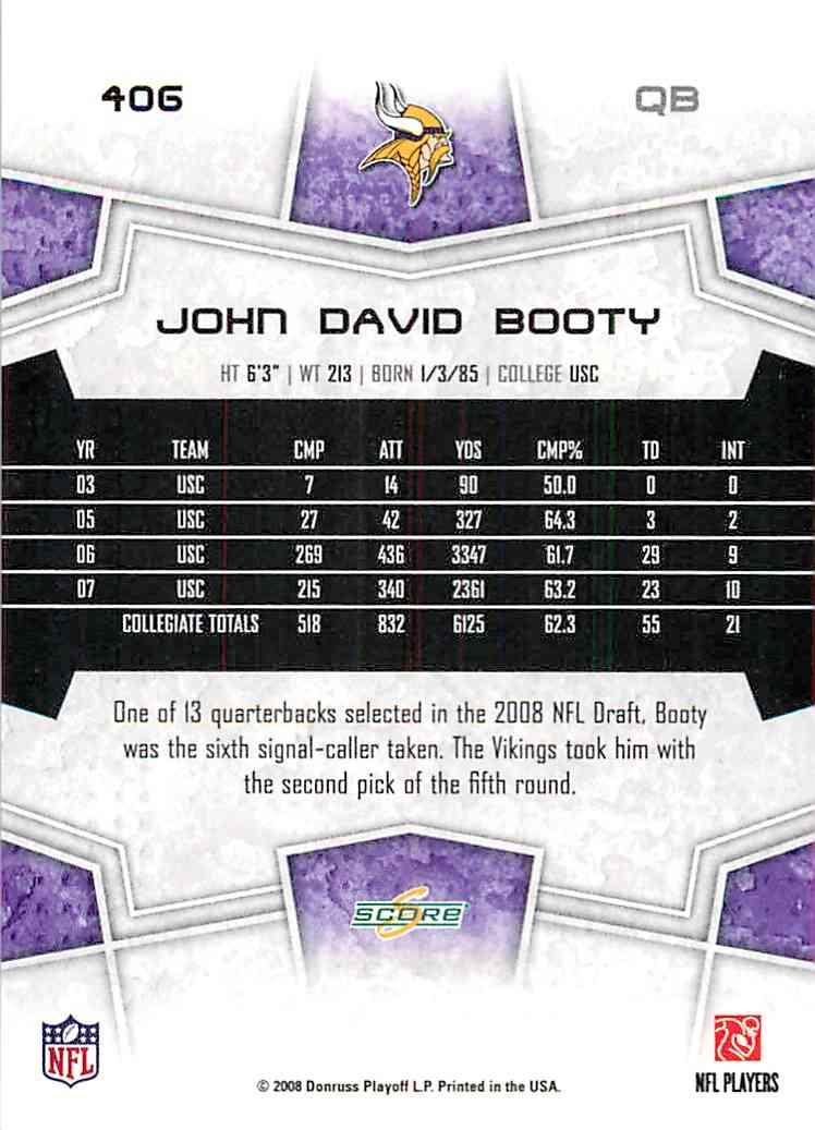 2008 Score John David Booty #406 on Kronozio