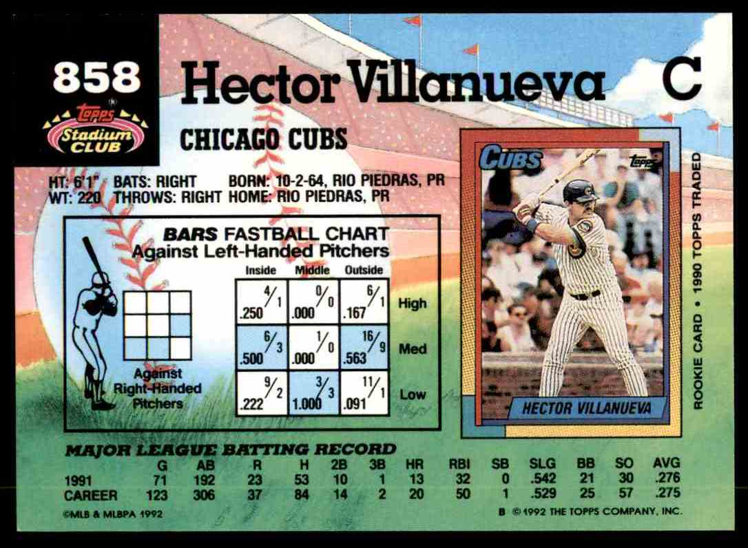 1992 Stadium Club Hector Villanueva #858 card back image