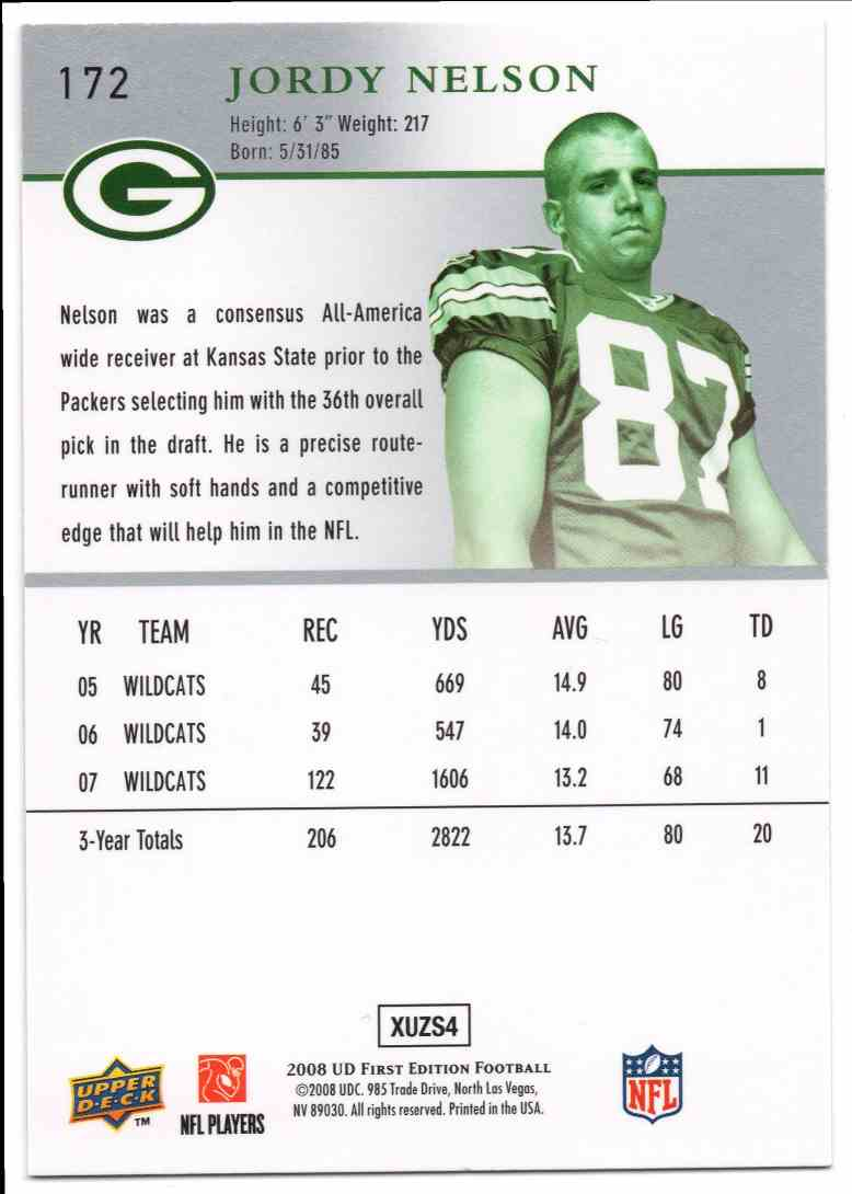 2008 Upper Deck First Edition Jordy Nelson #172 card back image
