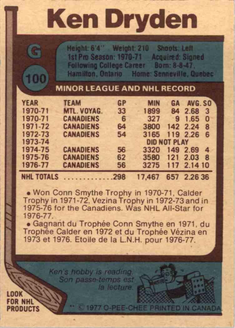 1977-78 O-Pee-Chee Ken Dryden - Near Mint/Mint #100 card back image