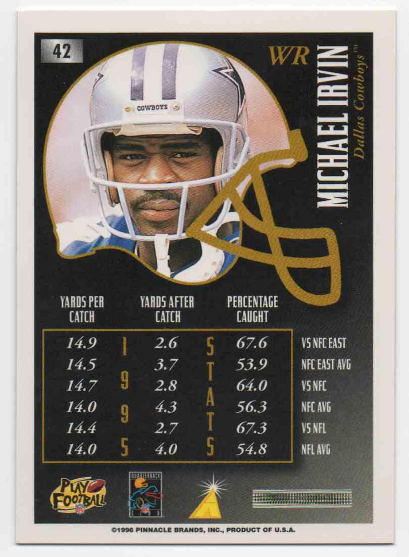 1996 Summit Premium Stock Michael Irvin #42 card back image