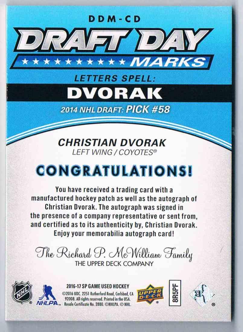 2016-17 SP Game Used Draft Day Marks Christian Dvorak #DDM-CD card back image
