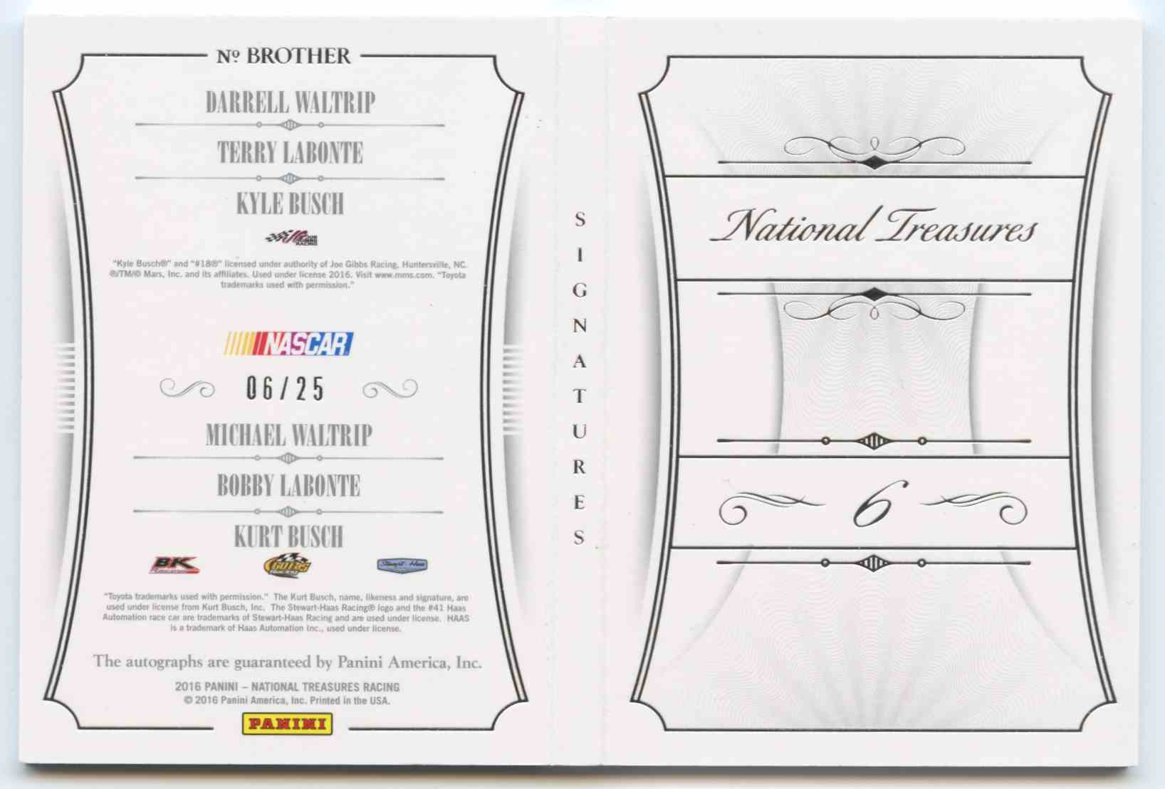 Arizona cardinals mvp crystal earrings likewise Nutz Or Gutz likewise Pittsburgh steelers solar mobile moreover 2016 Panini National Treasures Six Signature Booklets Kyle Busch Darrell Waltrip Michael Waltrip Terry Labonte Bobby Labonte Kurt Busch BROTHER besides wonderstarproductions. on michael waltrip