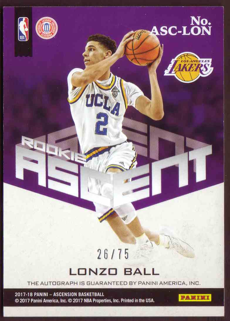 2017-18 Panini Ascension Rookie Ascent Autograph Red Lonzo Ball #ASC-LON card back image