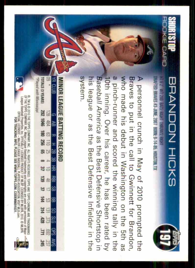 2010 Topps Chrome Brandon Hicks #197 card back image