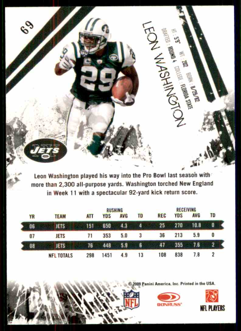 2009 Rookies & Stars Leon Washington #69 card back image