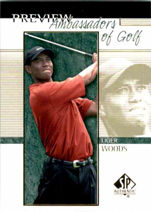 2001 SP Authentic Preview Tiger Woods Ag #51 card front image