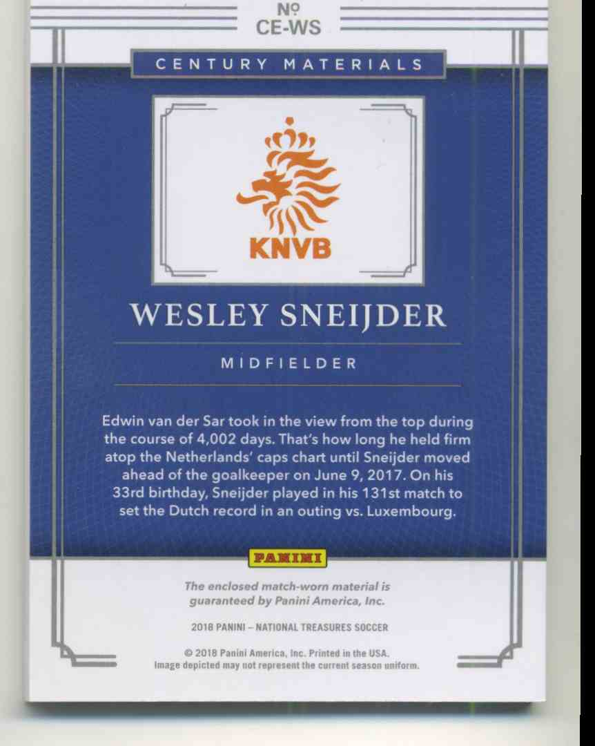 2018 Panini National Treasures Century Materials Wesley Sneijder #CW-WS card back image