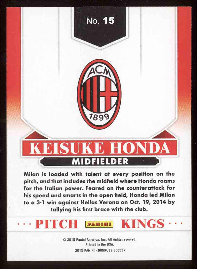 Real Card Back Image 2017 Donruss Pitch Kings Keisuke Honda 15