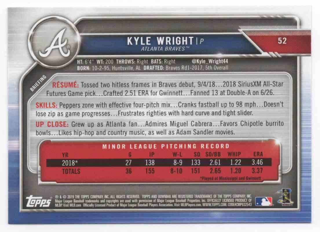 2019 Bowmn Kyle Wright #52 card back image