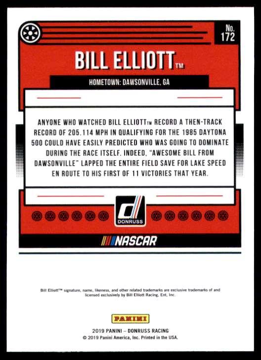 2019 Donruss Bill Elliott #172 card back image