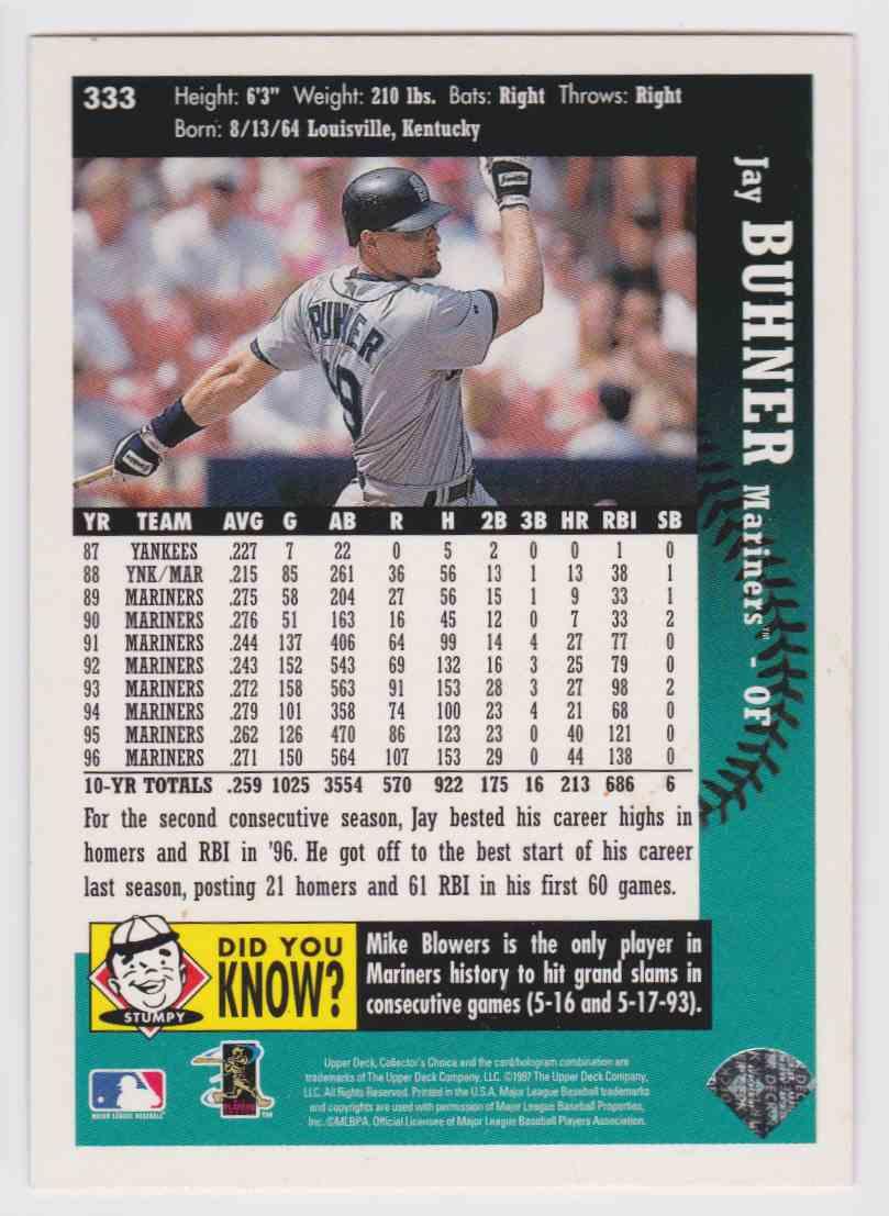 1997 Ud Ken Griffey Jr39s Hot List Jay Buhner 333 On
