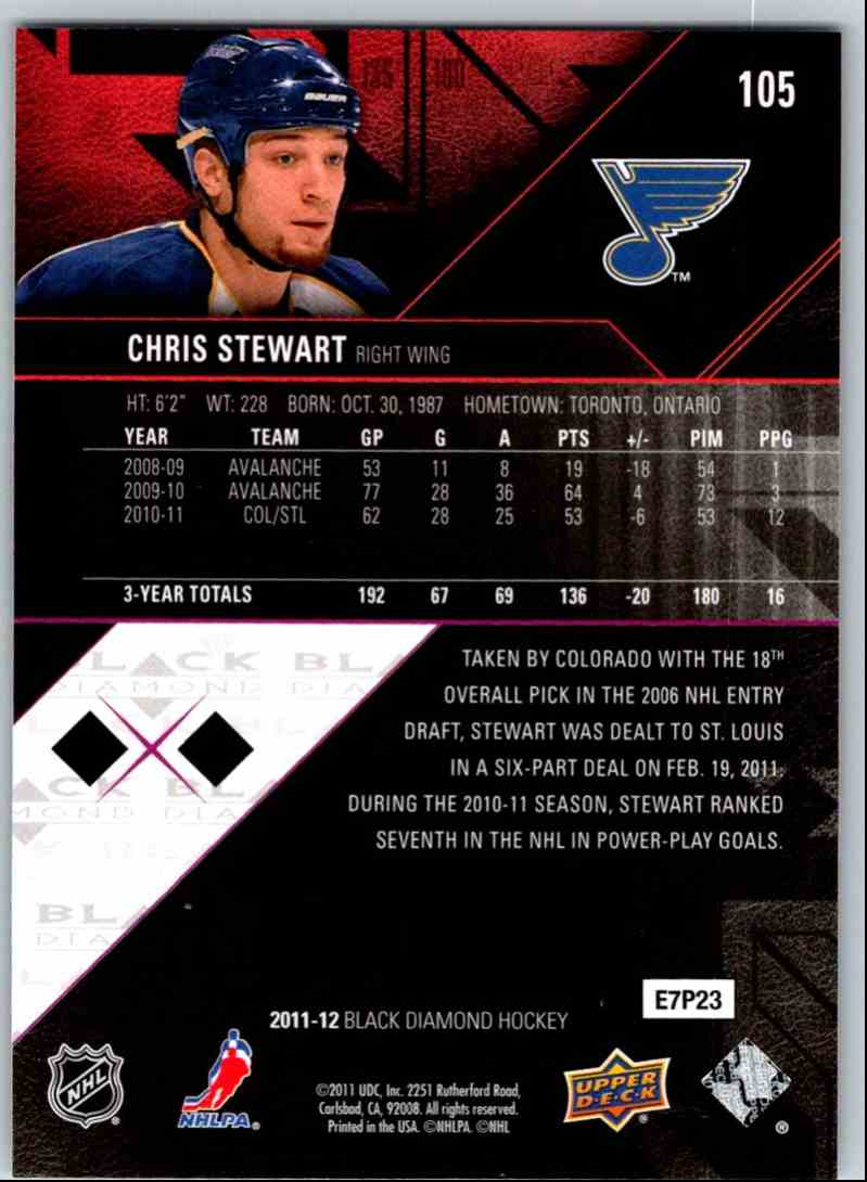 5dea9927b83 Real card back image 2011-12 Upper Deck Black Diamond Double Diamond Chris  Stewart  105 card back image