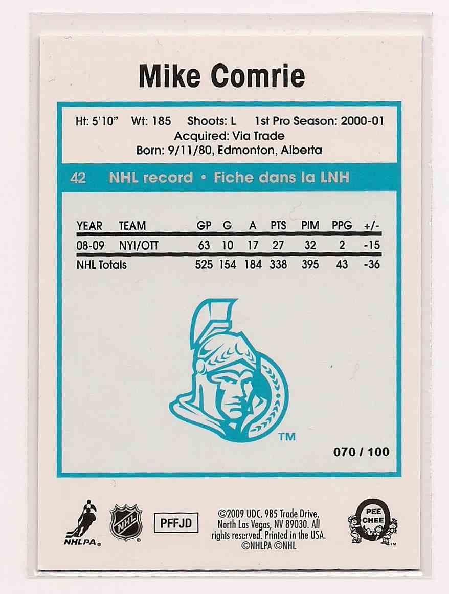 2009-10 O-Pee-Chee Retro Rainbow Mike Comrie #42 card back image