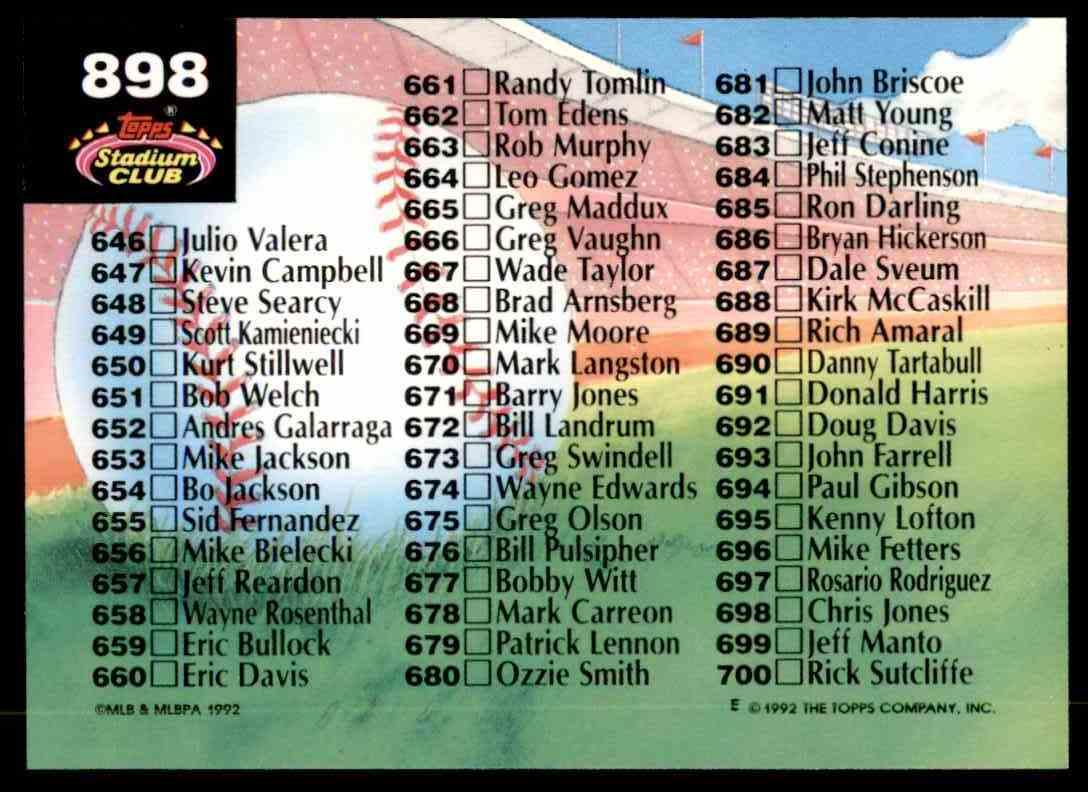 1992 Stadium Club Checklist 601-700 #898 card back image
