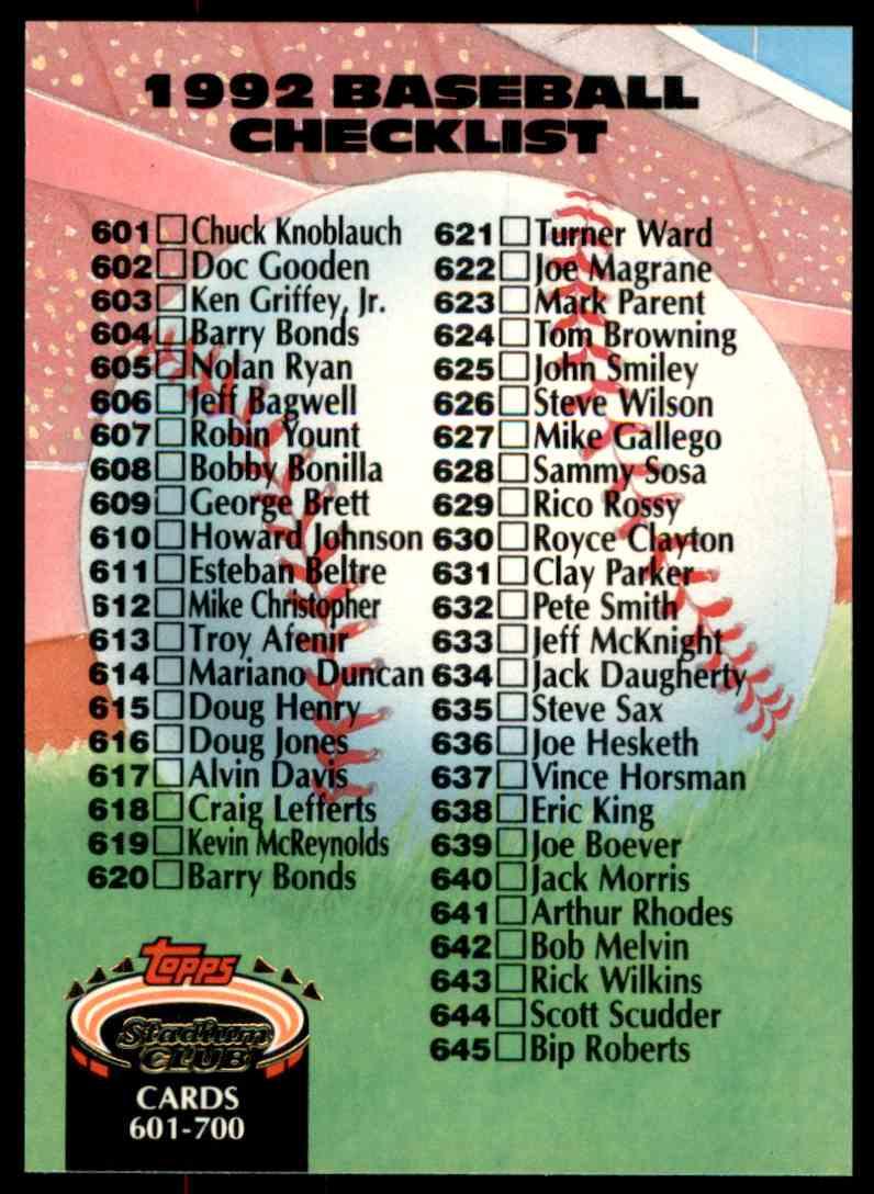 1992 Stadium Club Checklist 601-700 #898 card front image