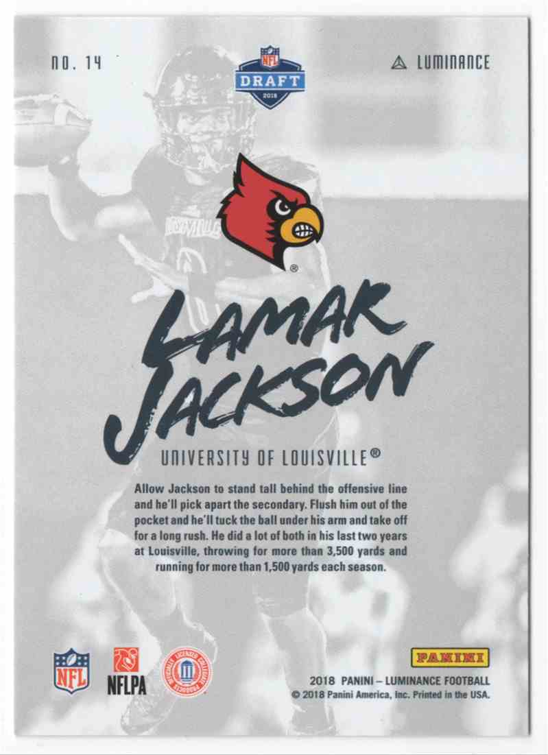 2018 Panini Luminance Luminary Lamar Jackson #14 card back image