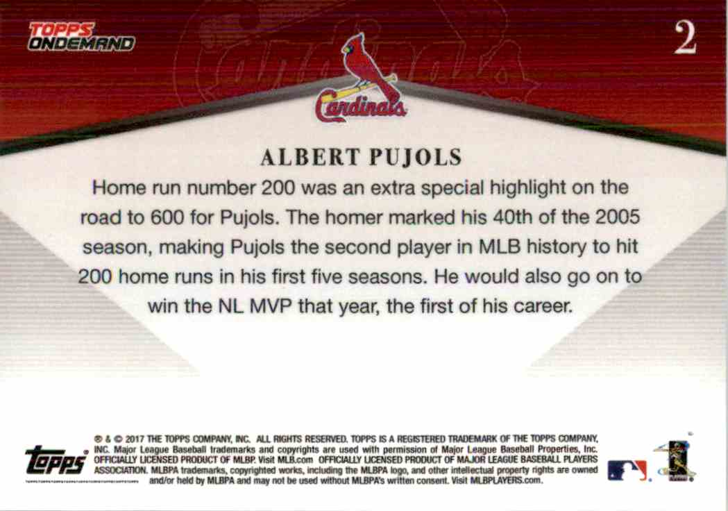 2017 Topps On Demand Chasing 600 Albert Pujols #2 card back image