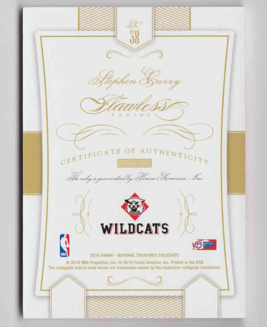 2016-17 Panini National Treasures Collegiate Flawless Ruby Stephen Curry #38 card back image