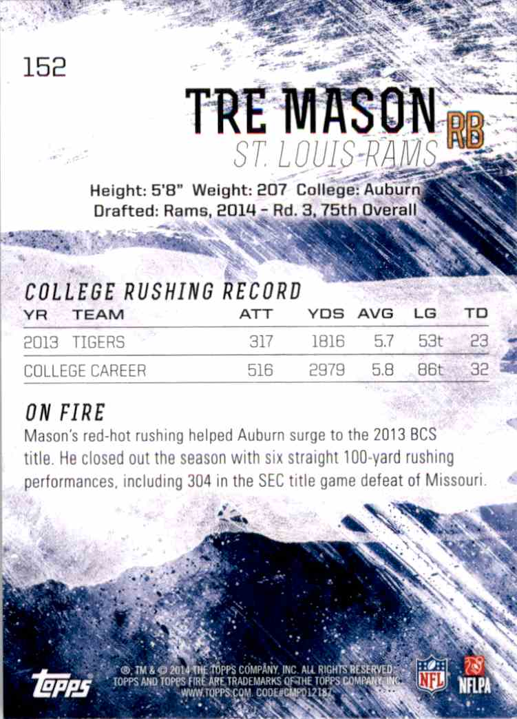 2014 Topps Fire Tre Mason RC #152 card back image