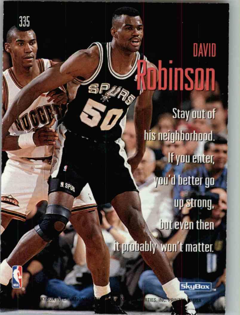 1995-96 Skybox David Robinson #335 card back image
