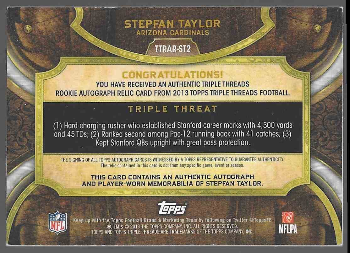 2013 Topps Triple Threads Jersey Auto RC Stephan Tayllor #TTRAR ST2 card back image