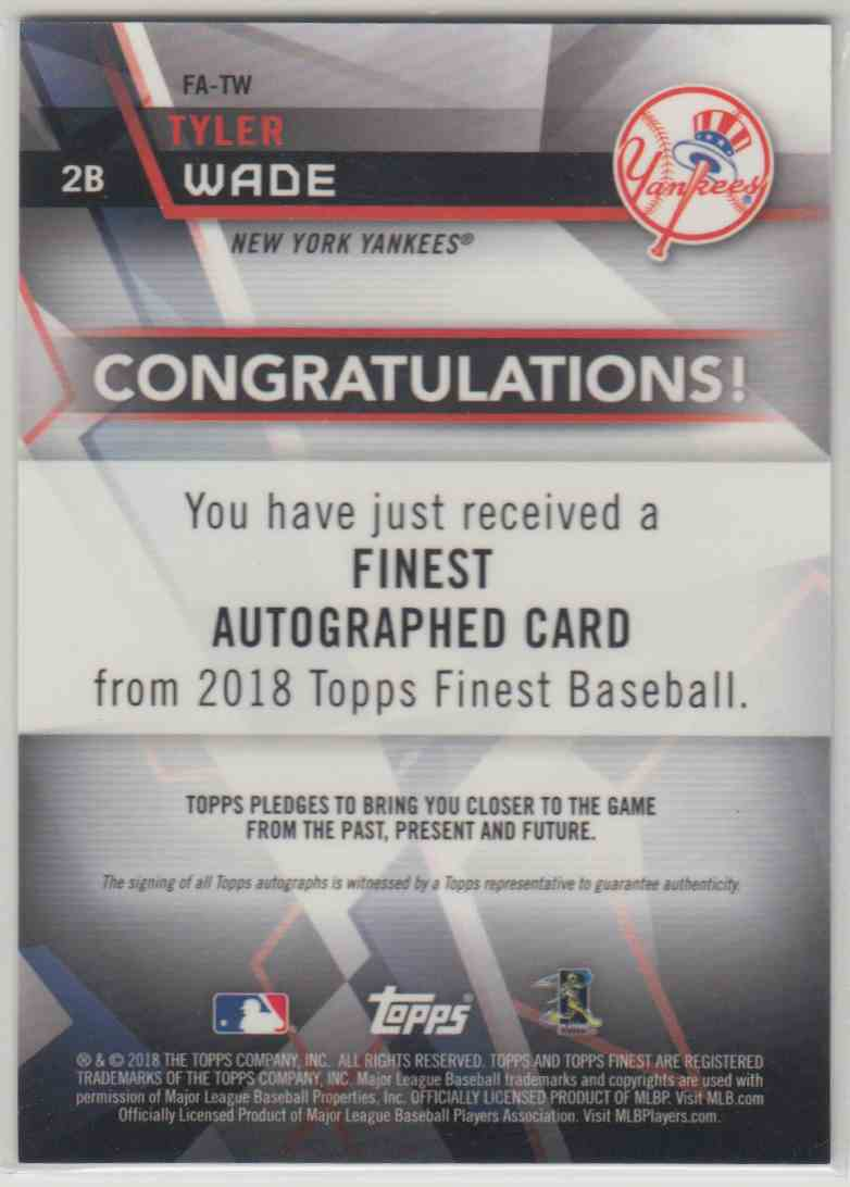 2018 Topps Finest Finest Autographs Tyler Wade #FA-TW card back image
