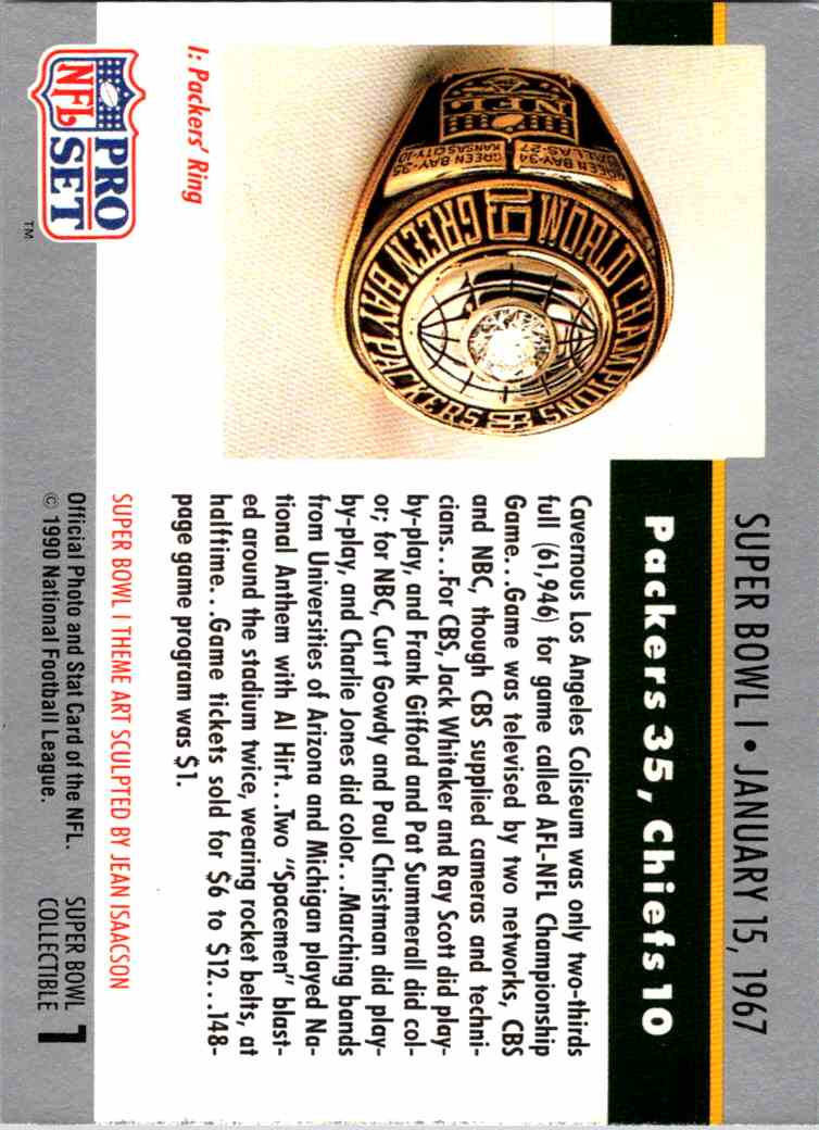 1967 Topps Classic 1970s-1980s Select Rare Football Cards Superbowl/championships #1 card back image