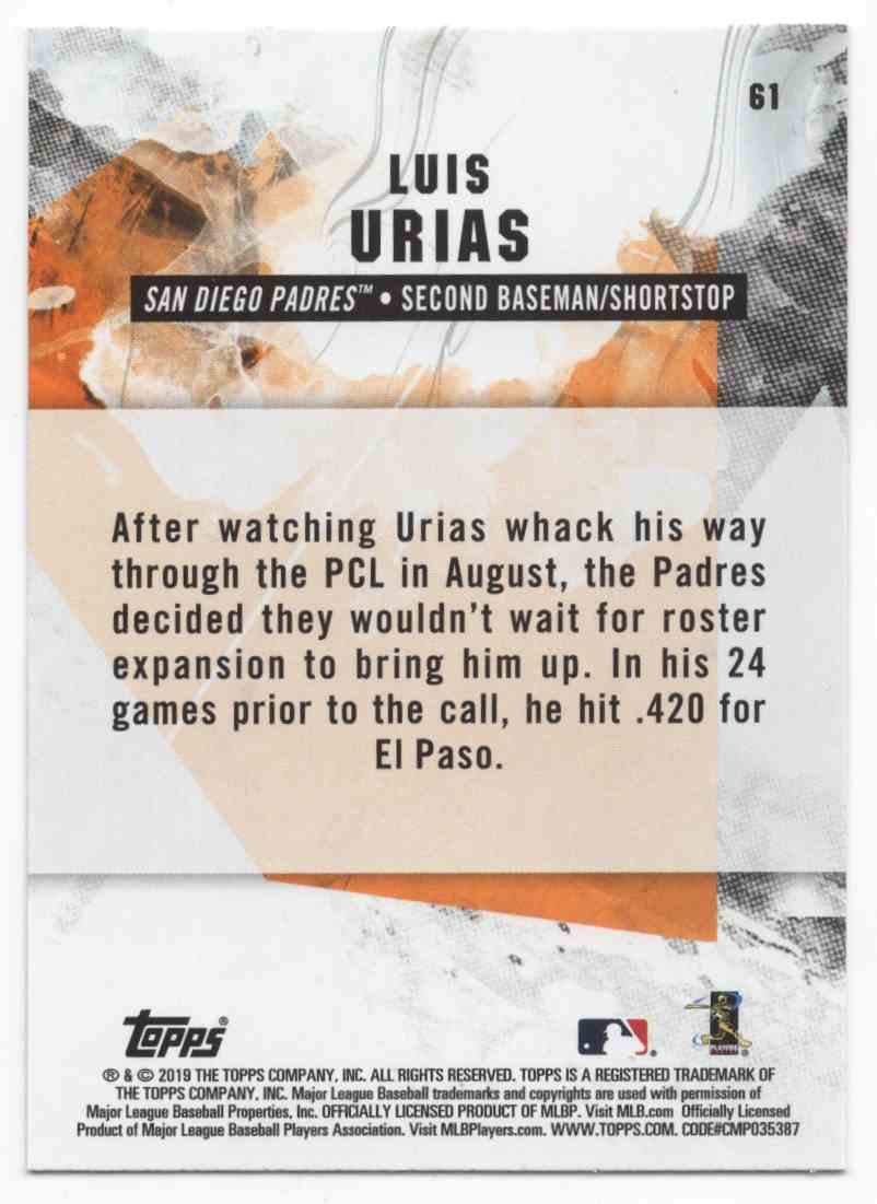 2019 Topps Fire Luis Urias #61 card back image