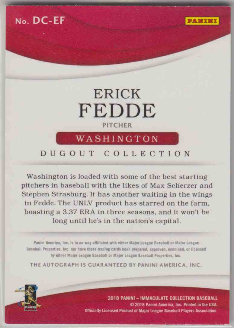 2018 Panini Immaculate Collection Dugout Collection Autographs Erick Fedde #DC-EF card back image