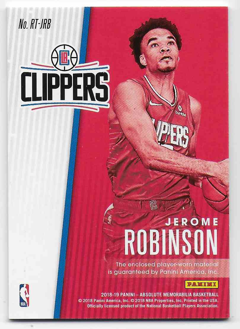 2018-19 Absolute Memorabilia Rookie Threads Jerome Robinson #13 card back image